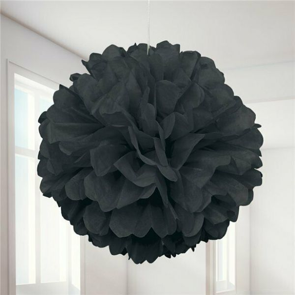 Halloween Black Pom Pom Decoration x 3 - 41cm
